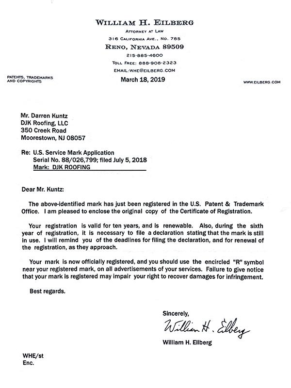 DJK Roofing Trademark Letter